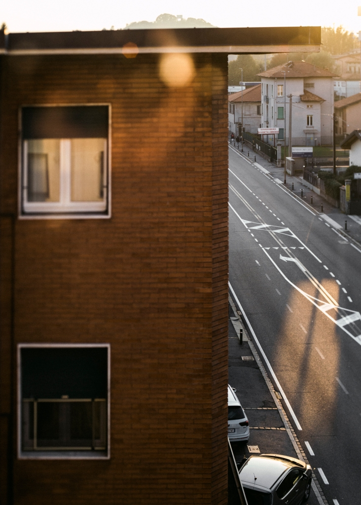 sunlight on the street and on the window